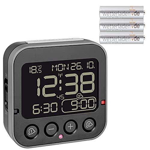 TFA Dostmann 60.2552.01 Bingo 2.0 digitaler Funk-Wecker mit Temperaturanzeige und Negativ-Display (schwarz mit Batterien)