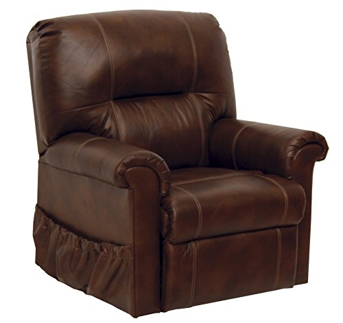 Catnapper Power Lift Full Lay-out Chaise Recliner with Comfort Coil Seating - Top Grain Leather Where the Body Touches - Stylish Padded Arms (Tobacco) - Weight Capacity 350 lb.