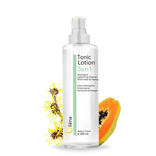 Tonico Limpiador facial Tonico facial astringente y aclarante con Agua de Hamamelis y Papaya para la piel mixta, seca, sensible y grasa Locion desmaquillante cara y ojos 200 ml