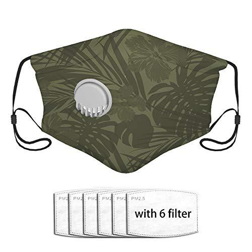 Neoqwez Camuflaje caqui monocromo tropical con filtros reemplazables y fundas lavables para correr, andar en bicicleta, esquiar, motos, actividades al aire libre