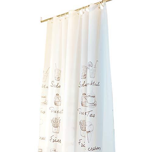 JUNMAONO Kaffee Tee Essen Muster Duschvorhang 90 * 180 Textil Schimmelbeweis & Wasserabweisend Shower Curtain mit 12 Duschvorhangringen,Umweltfre&lich Waschbar Badvorhänge (90 * 180cm, A)