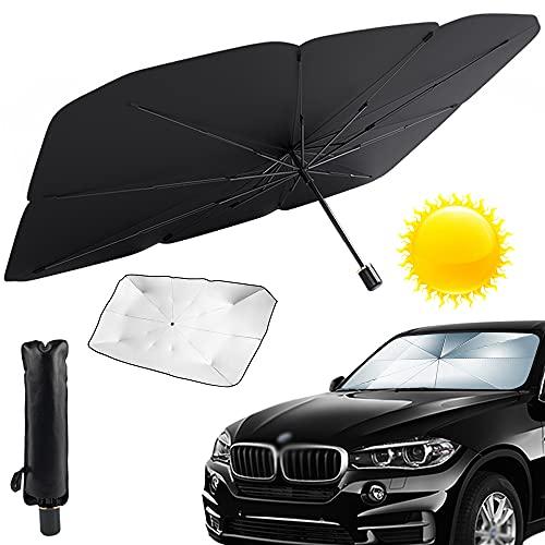 Sombrilla Paraguas del Coche, Parasol Coche Delantero Protector, Parasol para Parabrisas de Coche, Bloque de Rayos UV, para Coche (L)