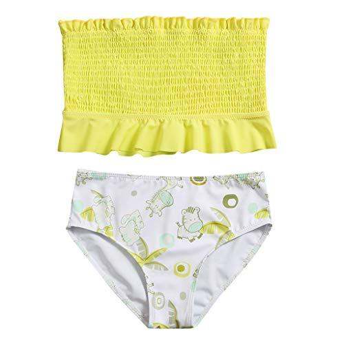 Sylar Traje de BañO De Dos Piezas con Estampado de NiñA Ropa de BañO Bikinis Conjuntos de Traje De BañO a Juego,BañAdor para Nenas (Amarillo 2, 164)