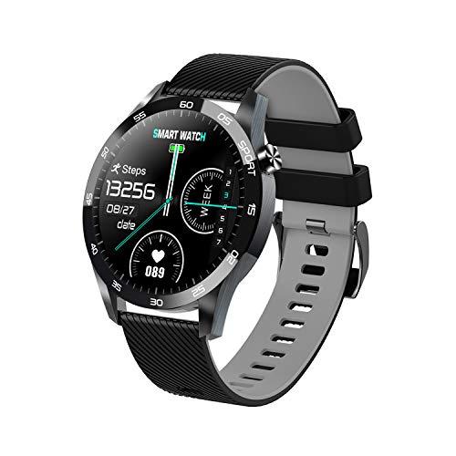 XWZ Smart Watch Fitness Tracker-Blutdruckmessgerät Blut Oximeter-Puls-Monitor Echtzeit-Temperaturmessung, kompatibel mit Android IOS,Grau