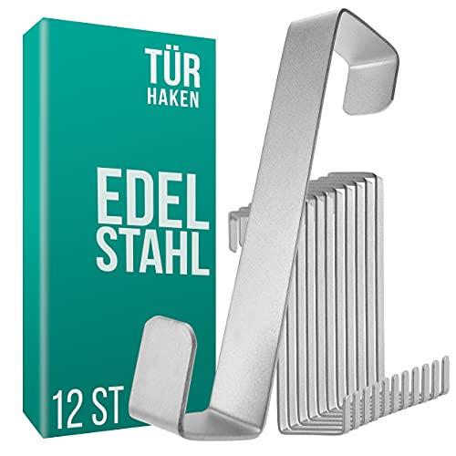 4smile Türhaken zum Einhängen – 12er Set, Edelstahl – Made in Germany Kleiderhaken für die Tür – weil Ordnung halten so leicht sein kann
