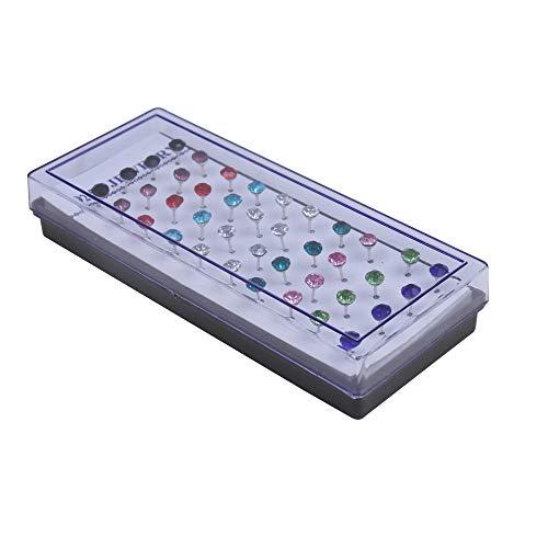 Kurtzy 3mm cristal diamantes de imitación stud pendientes Set 40 paquete(20 Pares) - redondos aretes con Estuche Organizador y Cierres de Goma - surtido Colores,Calidad Premium pequeña pendientes