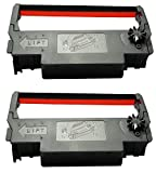 ERC-30 34 38 Ribbon Ink Cartridge Receipt Printer Black and Red, ERC30 Compatible with Epson Printer SNBC BTP-M280, BTP-M280A, BTP-M280B, BTP-M280D, BTP-M300, POS (2 Pack, Black and Red)