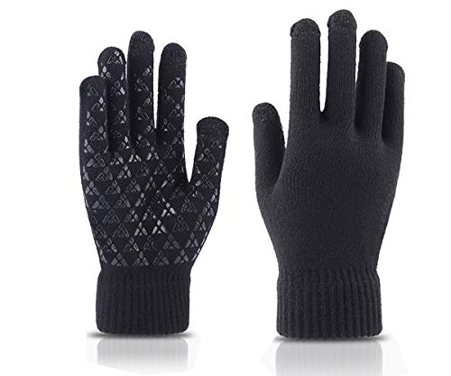 Men or Women Wool Warm Gloves - Touch Screen Compatible Anti Slip for Winter Skiing Snowboarding