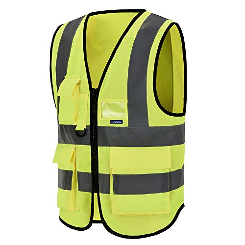 Mehrere Taschen,mit reißverschluss, Unisex hochsichtbare Warnweste Hohe Sichtbarkeit Warnweste Reflektierende Weste Reißverschluss Sicherheitswesten EN ISO 20471 (XL, Gelb)