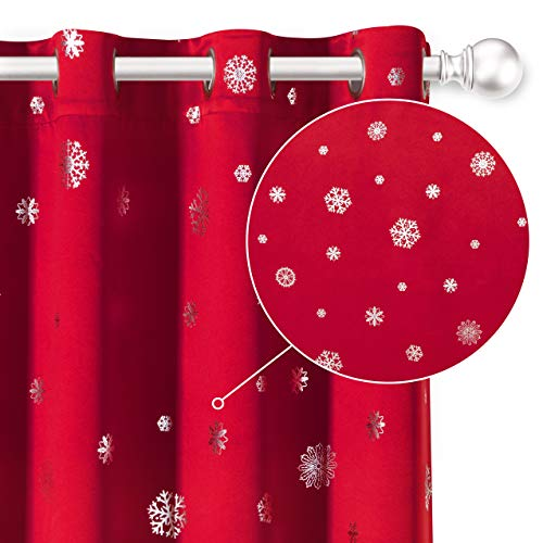 LORDTEX Snowflake Foil Print Christmas Curtains for Living Room and Bedroom - Thermal Insulated Blackout Curtains, Noise Reducing Window Drapes, 52 x 63 Inches Long, Red, Set of 2 Curtain Panels