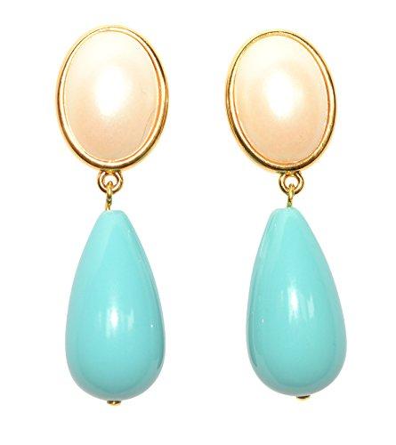 JUSTWIN - Orecchini a clip, leggeri, molto grandi, placcati in oro, con pietra color madreperla, a forma di goccia, colore: Azzurro/Turchese