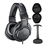 Audio-Technica ATH-M20X Monitor Headphones (Black) Bundle with Knox Gear Stand and Case(3 Items)