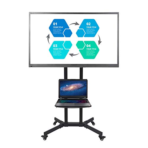 Fullwatt Mobile TV Cart with Wheels for 32-65 Inch LCD LED 4K Flat Screen Tvs Stand TV Cart with Height Adjustable Shelf, Max VESA Size 600x400mm
