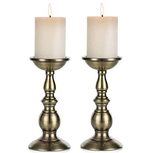 Nuptio Candelero columnario del Hierro, candelero Decorativo de Mesa para Boda/Fiesta/cumpleaños, artículo para la Cena a Las Velas, candelero Retro para hogar (Cobre, 2 x 22cm H)