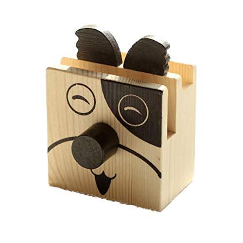 [クイーンビー] ペンスタンド 木製 アニマル かわいい メガネ スタンド ペン 立て 卓上 収納 ケース インテリア オフィス 机 デスク アクセサリー 文具 文房具 鉛筆 事務用品 プレゼント (犬)