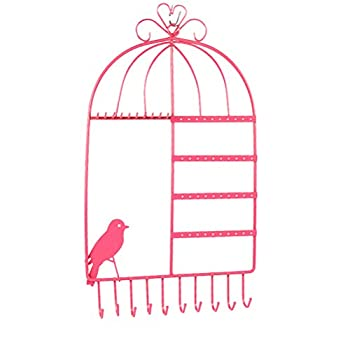 LUOEM Birdcage Jewelry Organizer Wall Mount Hanging Earring Necklace Holder Display Rack  Pink
