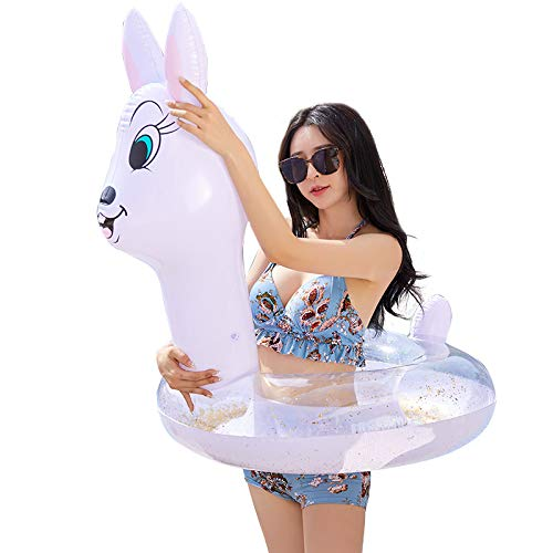 YSQ Inflatable Rabbit Ring Pool Float for Adults & Kids