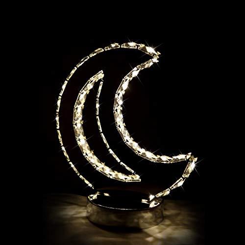 NZDY Creative Moon Led K9 Lámpara de Mesa de Cristal Dormitorio Sala de Estar Oficina Luz de Mesa de Boda Espejo de Boda Lámpara de Acero Inoxidable Lámpara de Cabecera de Cuerpo Regalo de Cumpleaños