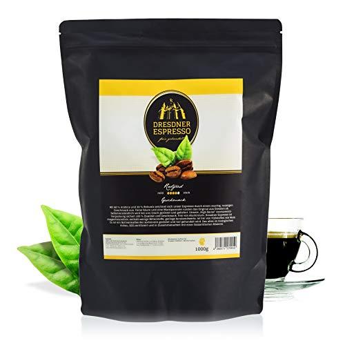 Dresdner Espresso - Kaffeebohnen, Espressobohnen aus biologischem Anbau / fair gehandelter Espresso Kaffee / rauchig, nussiger Geschmack mit Marzipannote / reiner Bohnenkaffee (Auffüllpackung, 1000g)