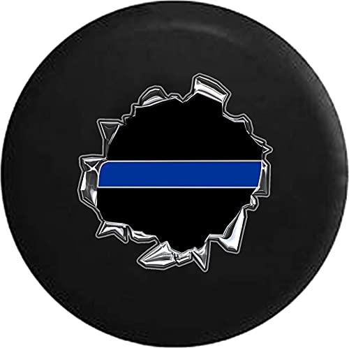Hokdny Cubiertas De Neumáticos para Rueda De Repuesto El Apoyo Policial De La Delgada Línea Azul Está Arrasando A Prueba De Polvo, Impermeable, Protección Solar Y Protección contra La Corrosión.