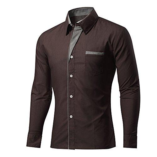 Rmine Herren Langarm Hemd Bügelleicht für Freizeit Business M-4XL (Braun, XXL)