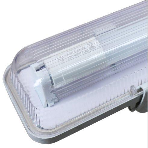 LineteckLED A01.002.15 Plafoniera singola per tubo neon LED T8 150 cm IP65 impermeabile per esterno con copertura trasparente - Garanzia 2 Anni
