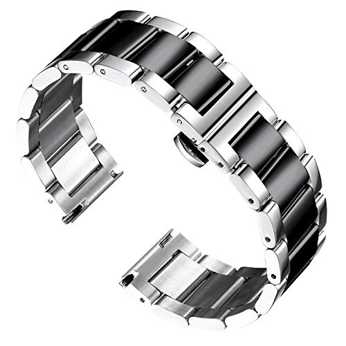 BINLUN Thick Stainless Steel Watch Band Metal Heavy Watch Bracelets Polished Matte Brushed Finish Watch Strap Replacement for Men Women 21mm