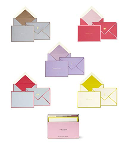 Kate Spade New York All Occasion Card Set of 15 with Blank Interior and Lined Envelopes, Colorblock