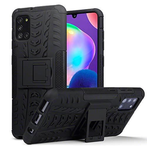 TERRAPIN, Kompatibel mit Samsung Galaxy A31 Hülle, TPU + PC Schutzhülle mit Standfunktion Tasche - Schwarz