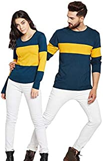 The Dry State Men's & Women's Couple Cotton Mustard & Petrol Green Colour Round Neck Full Sleeve Tshirt (Pack of 2)