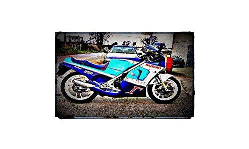 1988 rg250 gamma Bike Motorfiets A4 Metalen bord Aluminium Retro Verouderde Vintage