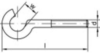 TOOLCRAFT Gebogen schroefhaken 60 mm Galvanisch verzinkt staal M5 100 stuk(s)