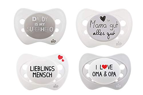 nip Schnuller Limited Edition 4er SET: Lieblingsmensch + Daddy is my superhero + I love Oma and Opa + Mama gut alles gut, Gr. 1, 0-6 Monate, Silikon, Unisex