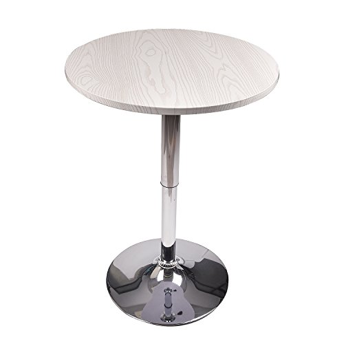 Round Bar Table Adjustable with MDF Top,Bistro Pub Height Table with Chrome Leg and Base,White Wood…