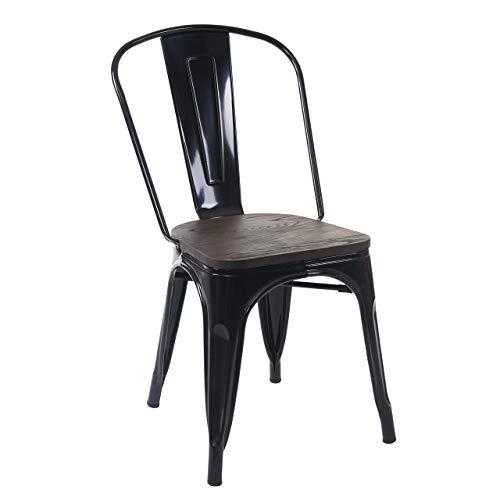 Mendler Stuhl HWC-A73 inkl. Holz-Sitzfläche, Bistrostuhl Stapelstuhl, Metall Industriedesign stapelbar ~ schwarz