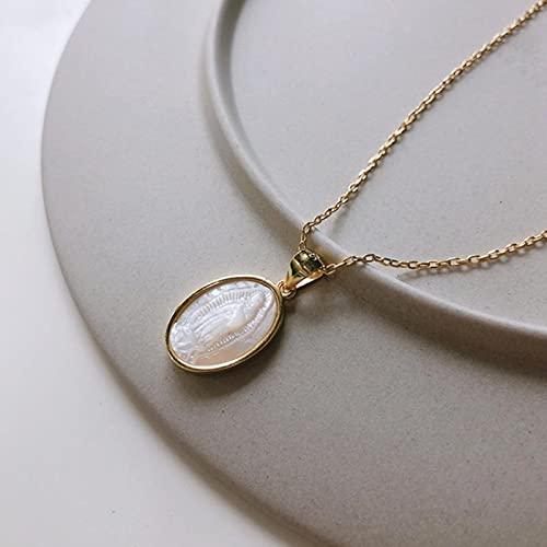 SONGK 925 Plata esterlina Concha Ángel bebé Colgante Collar Oro Original Redondo Estilo Occidental Collar para Mujer joyería Regalos