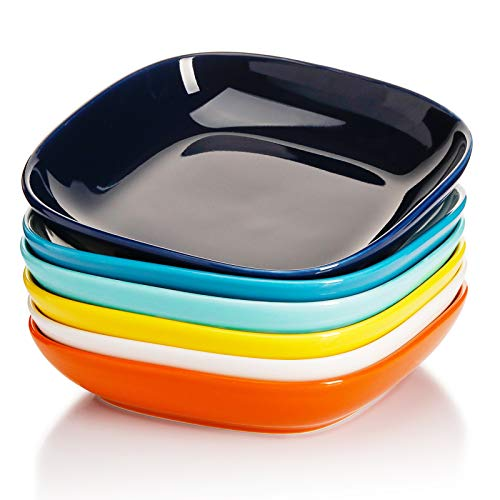 Sweese 121.002 Porcelain Square Salad Pasta Bowls - 30 Ounce - Set of 6, Hot Assorted Colors