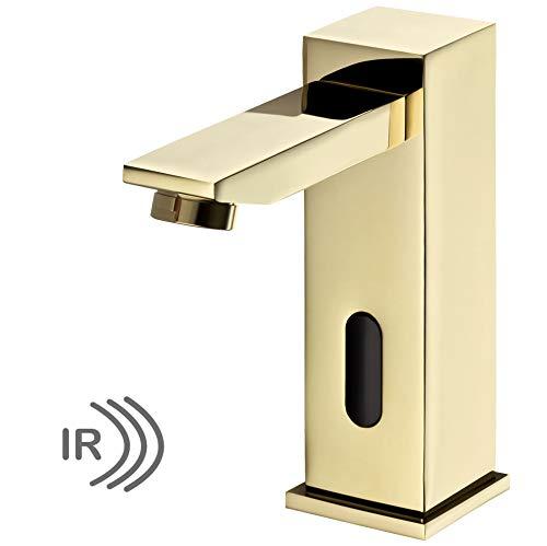 Sanlingo – Infrarotsensor-Waschtischmischer, Temperaturregler, Batterieversorgung, langer Auslauf,  Gold - 3