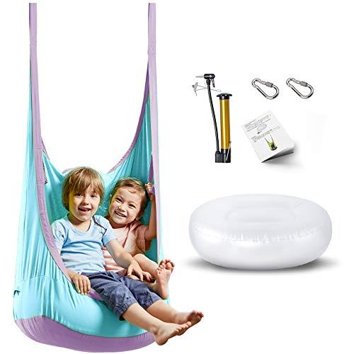 happypie Hängehöhle,Hängesessel,Hängematten aus Baumwolle ideal,Indoor und Outdoor Geeignet für Kinder und Erwachsene (Blau)