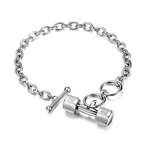 Aruie Bracelet pour Homme en Acier Inoxydable avec Haltère Dumbbell Sport Fitness Fermoir Tube Chaîne de Main Bijoux Cadeau Argent