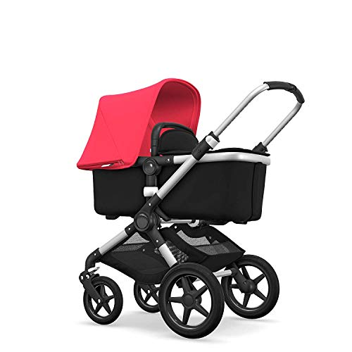 Bugaboo Fox, 2 in 1 Foldable Pram and Pushchair with All-Terrain Wheels, Black/Neon Red