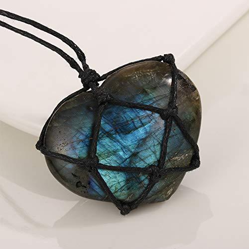 DTKJ Labradorite Necklace Natural Stone Pendant Wrap Braid Necklace Yoga Macrame Necklace for Men Women Energy Necklace