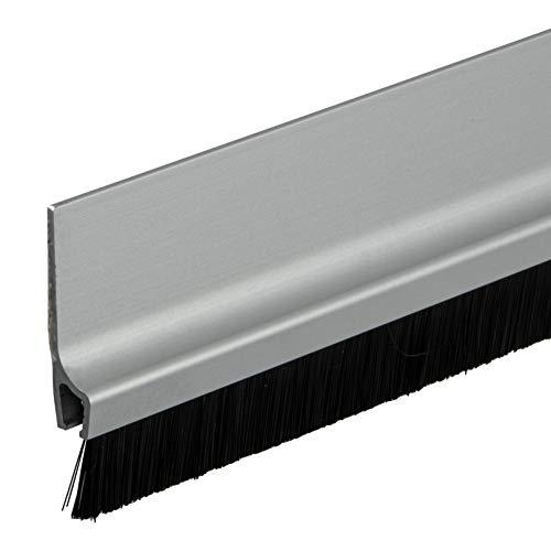 Gedotec Bürstendichtung selbstklebend Streifenbürste Garagen-Tor Türbürsten-Dichtung mit dichten Besatz | Länge 1000 mm | Türdichtung Aluminium silber | 1 Stück - Tür-Dichtschiene Bürste für Böden