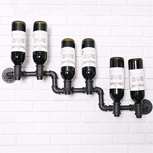 Leifeng Tower Soporte para 6 botellas de vino de metal negro rústico LNDDB