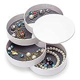 Homaz Jewelry Boxes Organizer Box Jewelry Storage Box 4-Layer Rotatable Jewelry Accessory Storage Tray with Lid (White)