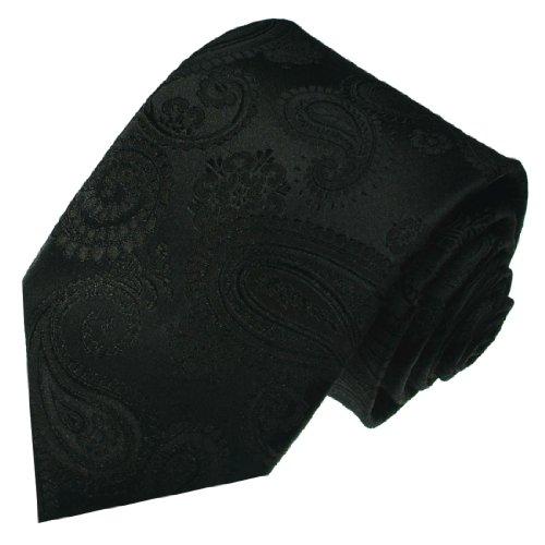 Lorenzo Cana - Designer Luxus Krawatte aus 100{69d54a5b5087640880eebd681ff39a6412df6c37bc6363654cc272ad61456a91} Seide - Eleganter Schlips Schwarz Paisleymuster - 84292