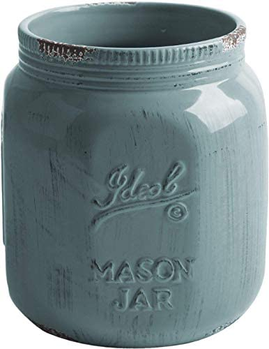 Home Essentials Vintage Mason Jar Collect Antique Utensil Crock Blue Grey 7 inches Height product image