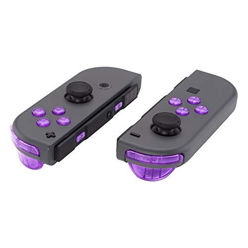 eXtremeRate Tasten Kit ABXY Richtungsknöpfe SR SL L R ZR ZL Trigger Buttons Federn,Komplett Set Tasten mit Werkzeug für Nintendo Switch JoyCon(Transparent-Lila)-Joy Con Hülle Nicht enthalten