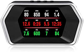 iKiKin Head Up Display with OBD2 GPS Dual Systems, Car Hud Display with Multiple Display Functions, Engine RPM, OverSpeed ...