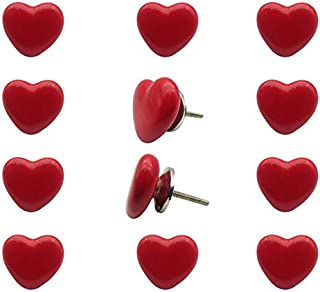 Decokrafts Pack of 12 Pcs Red Heart Shape Ceramic Knobs for Cabinets and Drawer